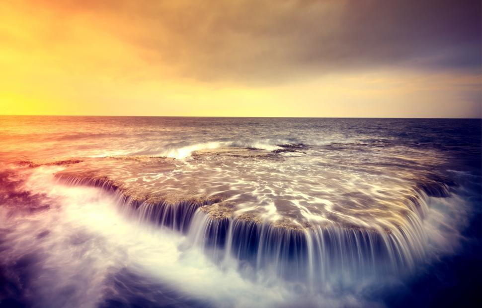 Download Free Stock HD Photo of Sea Water Falling From Rocks - Rocky Shore - Dreamy Looks Online