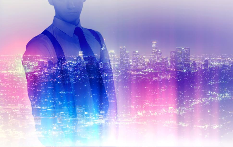 Download Free Stock Photo of Young Businessman Over City - Entrepreneur - Double Exposure