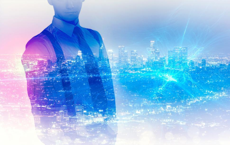 Download Free Stock Photo of Businessman Over Network - Entrepreneur Concept - Double Exposure