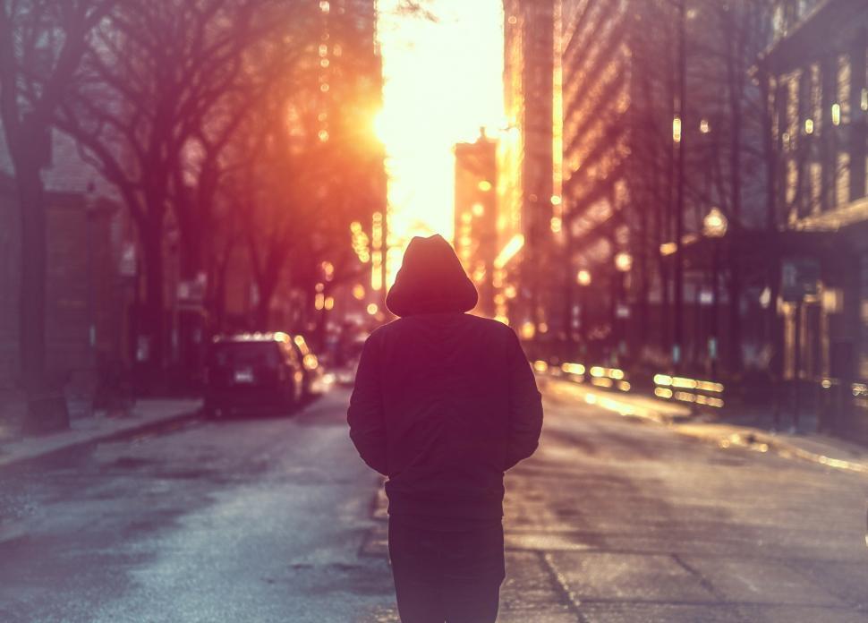 Download Free Stock Photo of Man Walking Alone on City Street