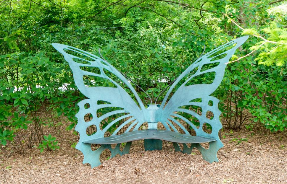 Download Free Stock Photo of Butterfly Sculpture Park Bench