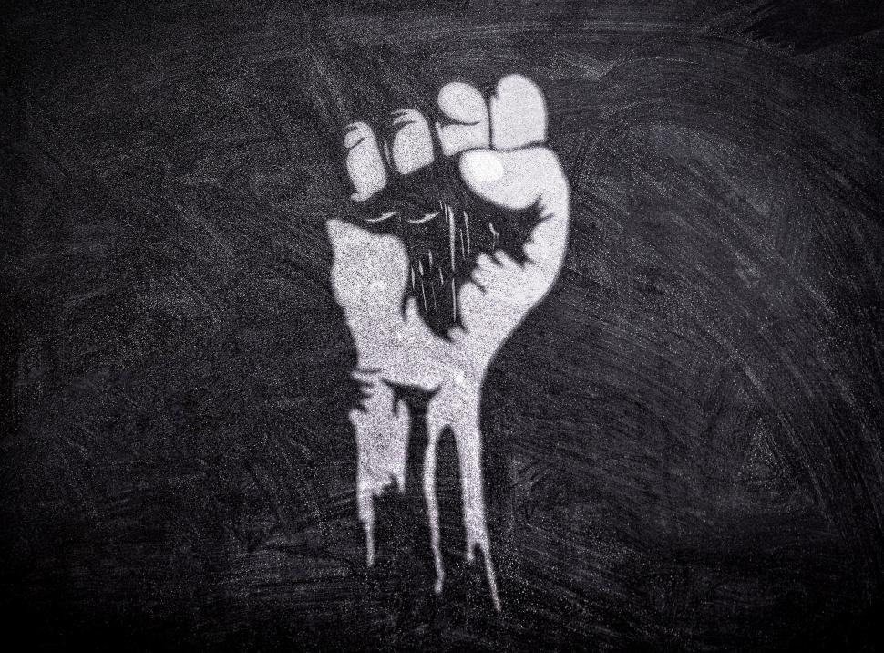 Download Free Stock Photo of Power to the People - Raised Fist on Blackboard