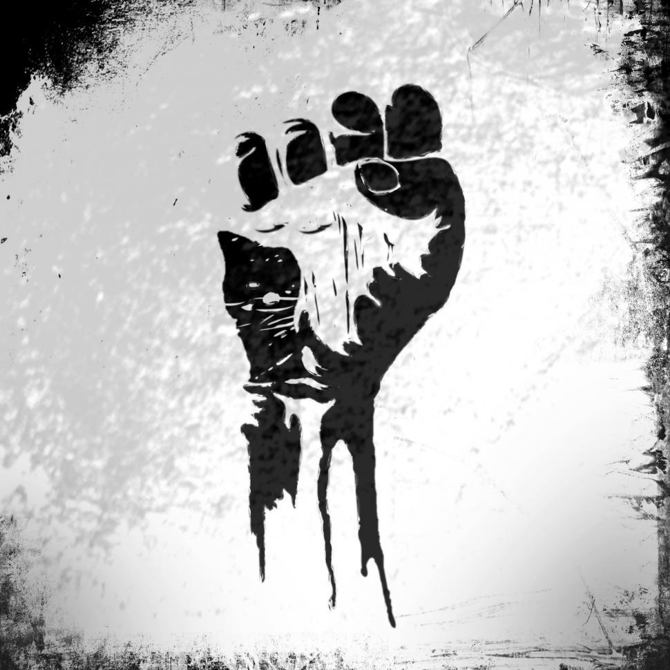 Download Free Stock Photo of Power to the People - Raised Fist - Grunge Background