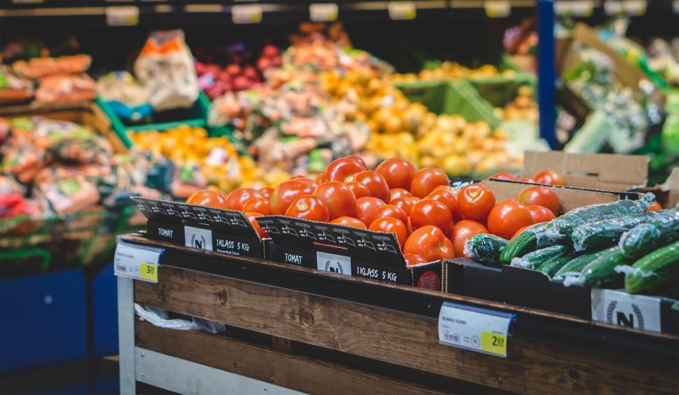 Download Free Stock Photo of Close up of tomatoes in a grocery store