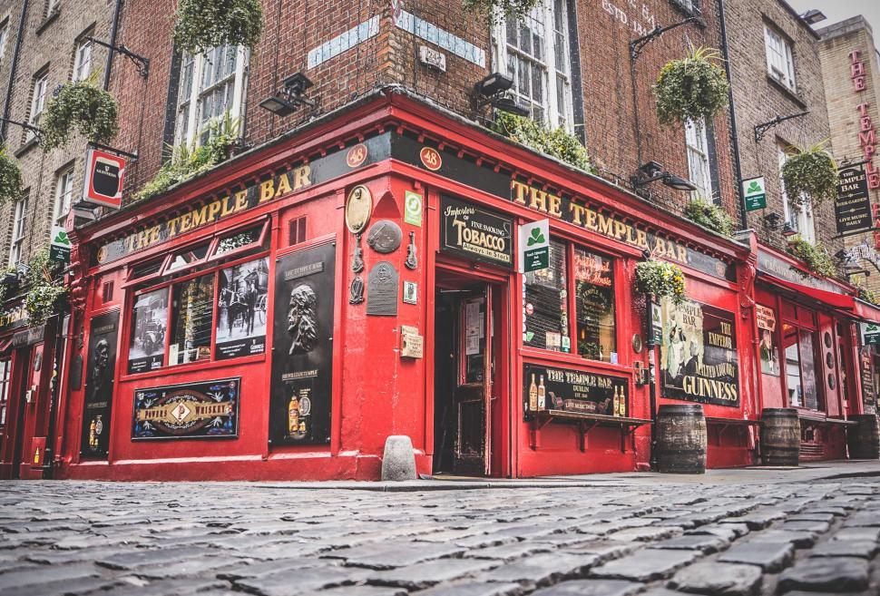 Download Free Stock HD Photo of Irish pub The Temple Bar in the center of the Irish capital Dublin Online