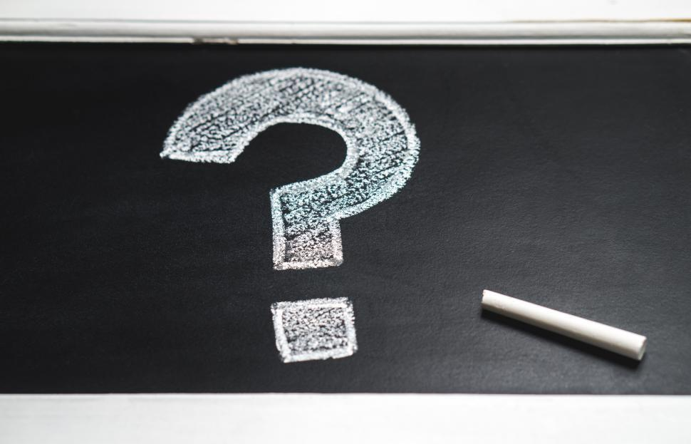 Download Free Stock Photo of Question mark drawn with chalk on chalkboard and stick of chalk