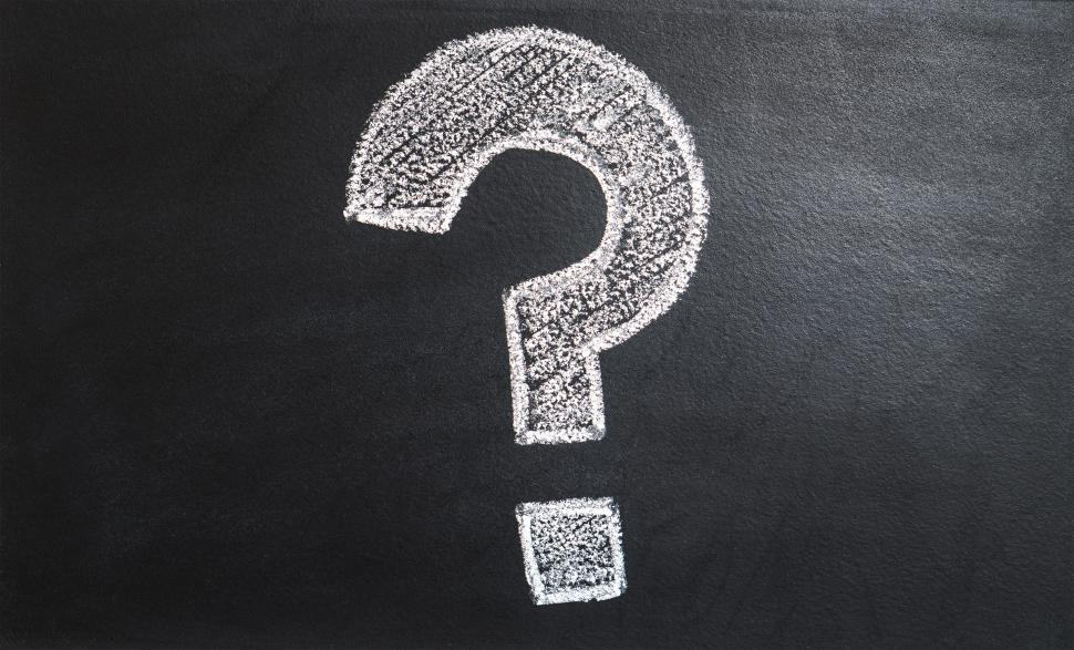 Download Free Stock HD Photo of Close up of a question mark drawn with chalk Online