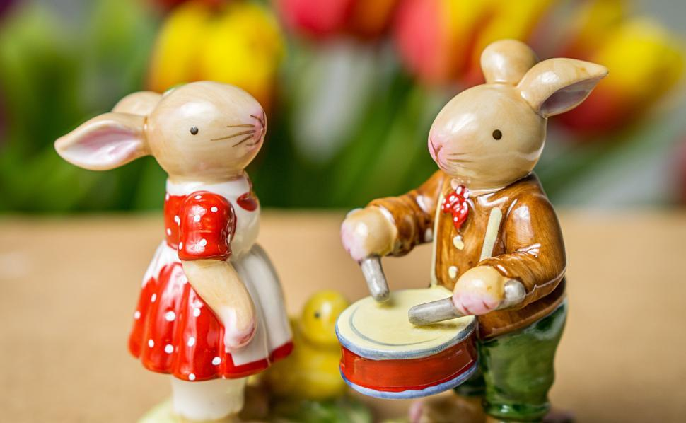 Download Free Stock Photo of Close up of two ceramic Easter rabbit figurines