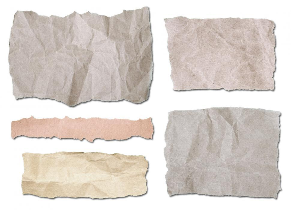 Download Free Stock Photo of A collection of ripped pieces of paper