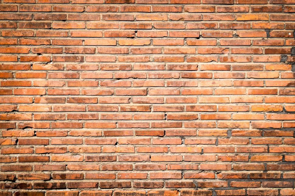 Download Free Stock Photo of Old wide thin brick wall texture