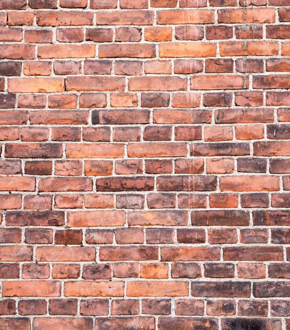 Download Free Stock Photo of Vertical red brick wall texture