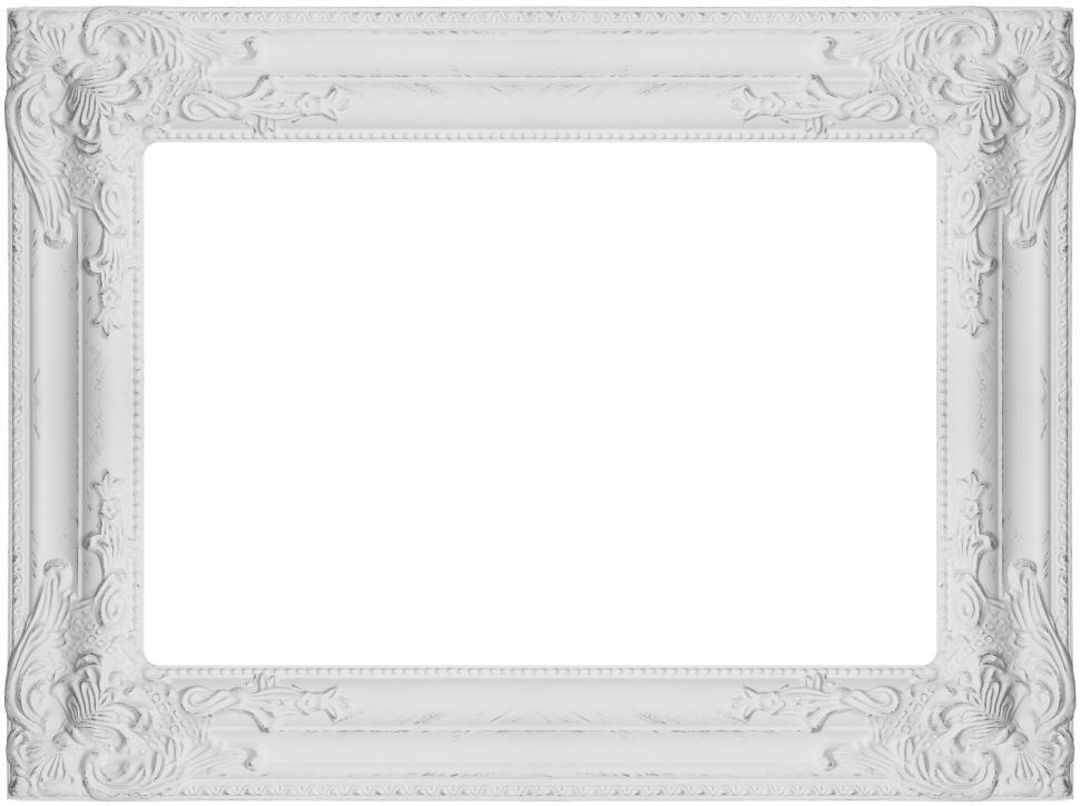 Download Free Stock Photo of Carved white picture frame blank image