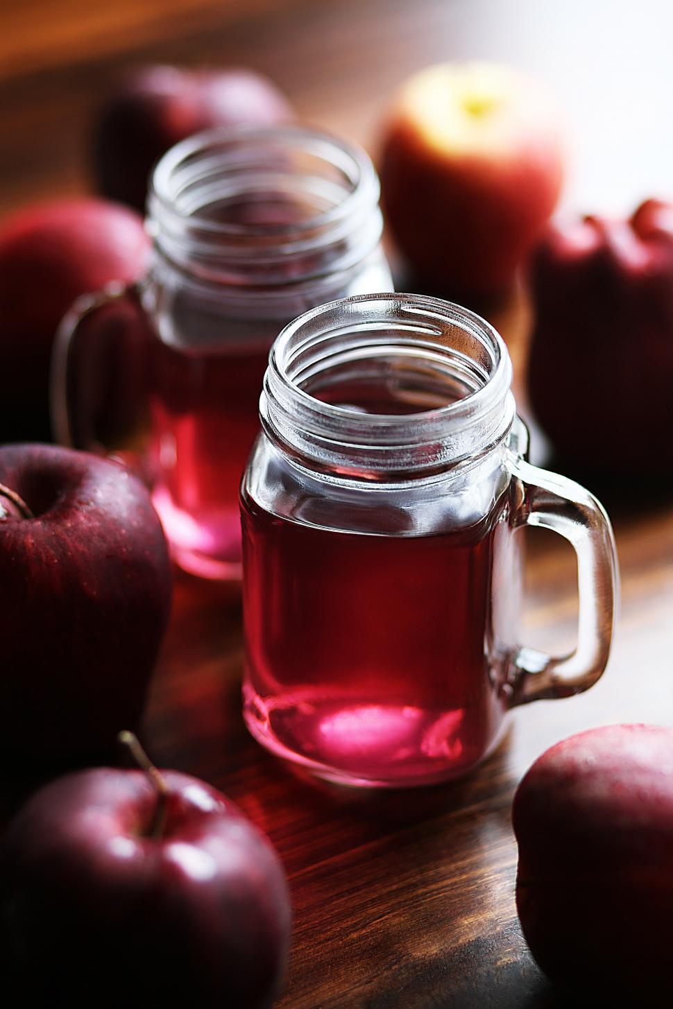 Download Free Stock HD Photo of Apple juice in mason jars Online