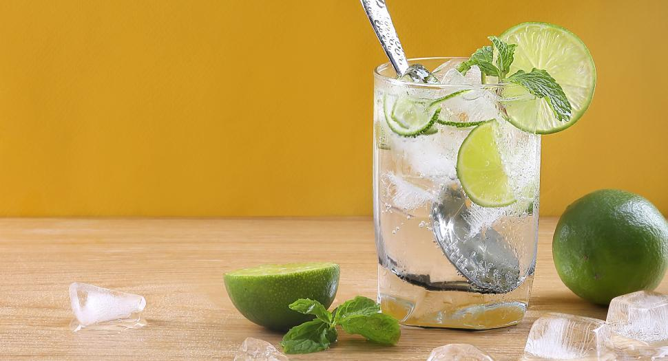 Download Free Stock Photo of Glass of Mojito Cocktail