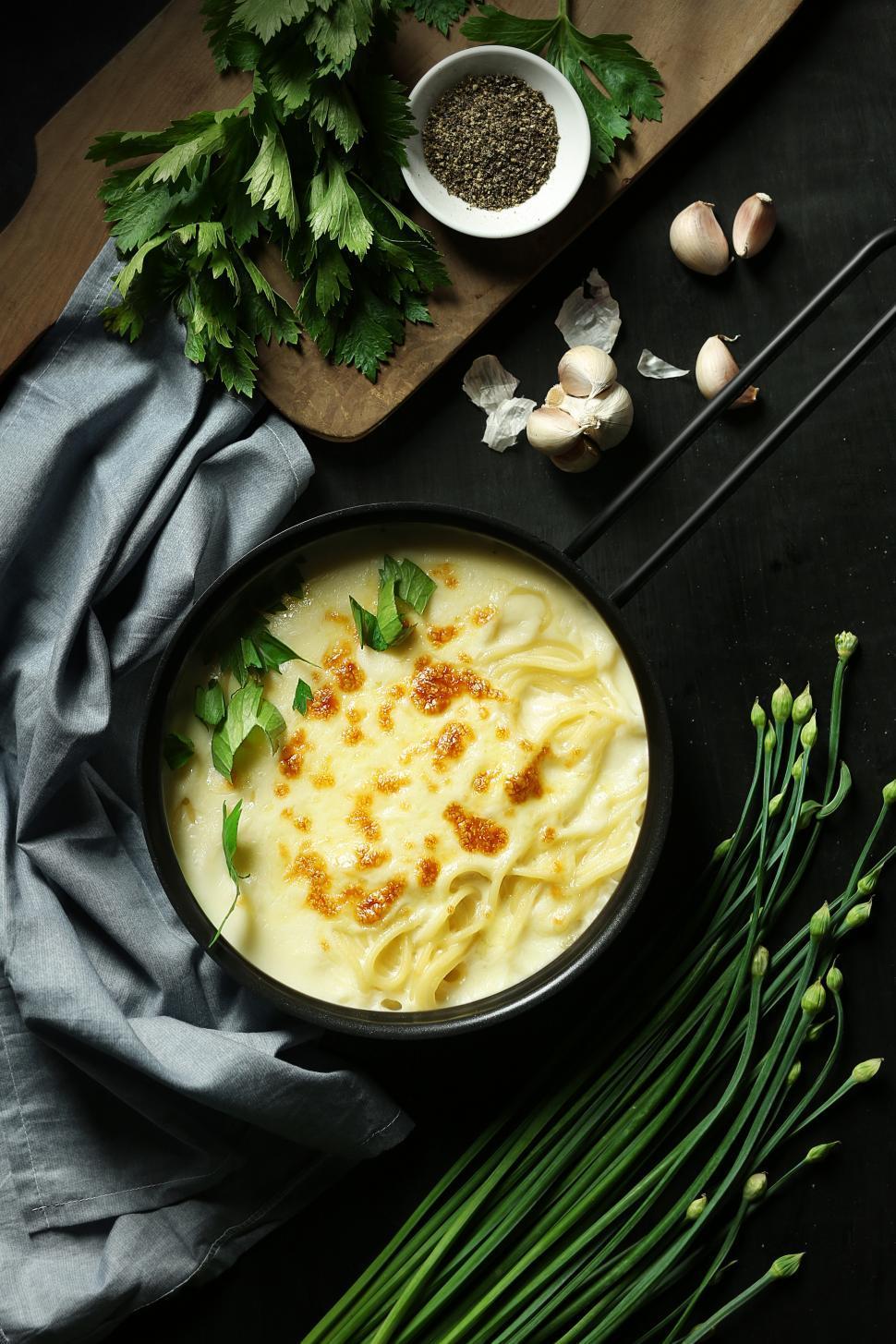 Download Free Stock HD Photo of Bucatini carbonara pasta Online