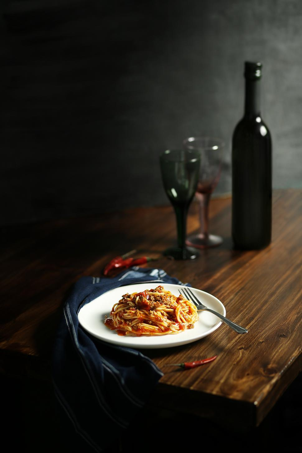 Download Free Stock HD Photo of Bucatini Amatriciana Pasta Online