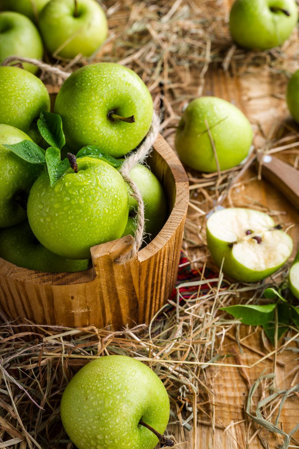 Download Free Stock HD Photo of Green Apples on Table Online