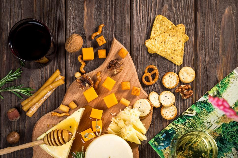 Download Free Stock Photo of Different types of cheese on wooden table