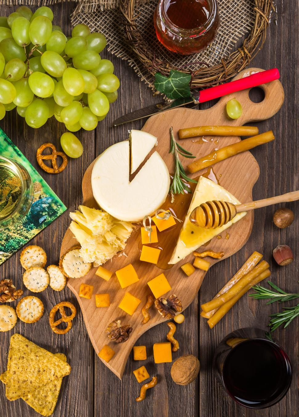 Download Free Stock HD Photo of Cheese Plate with grapes Online