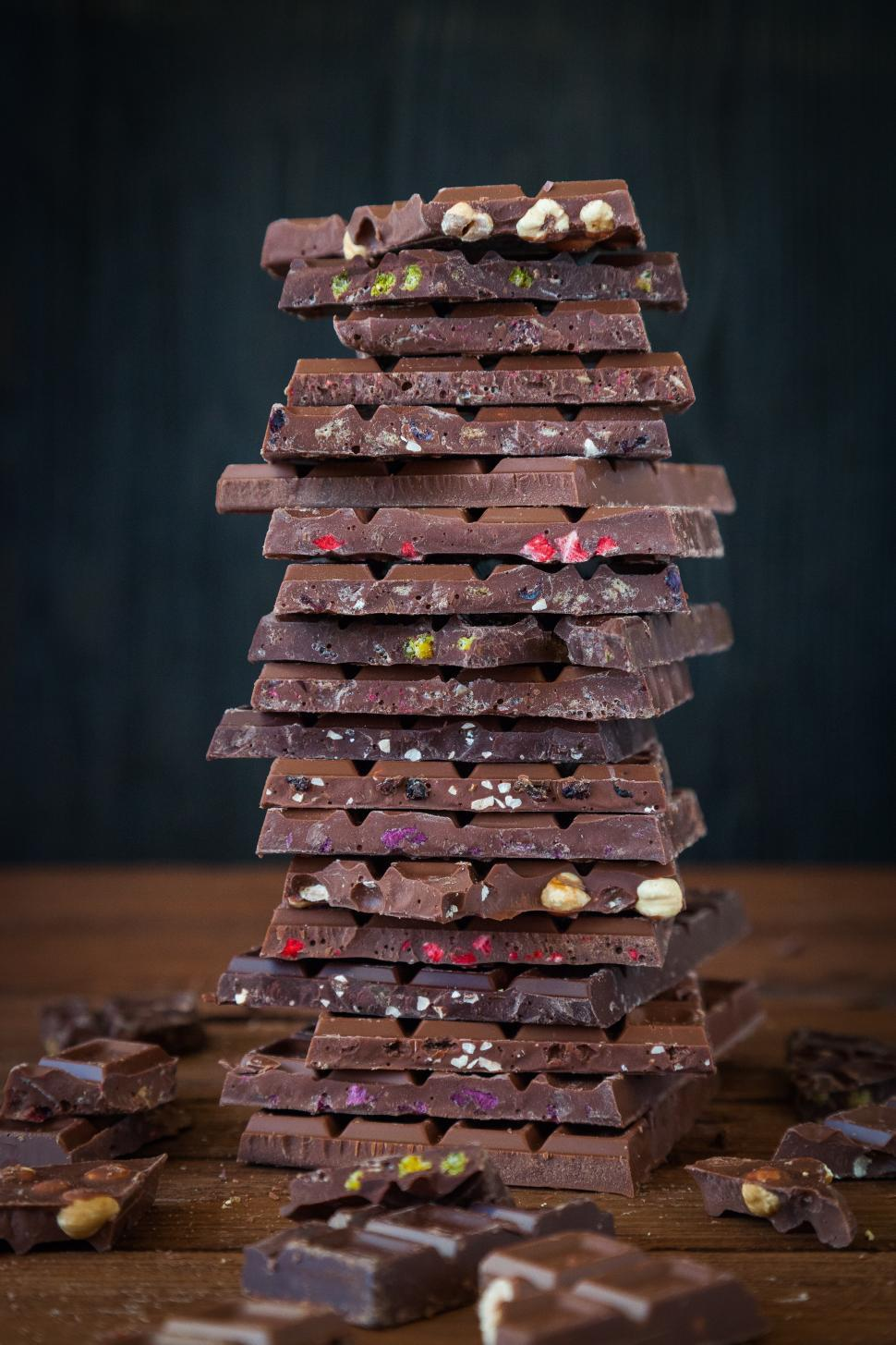 Download Free Stock HD Photo of Close up of stack of broken chocolate bars Online