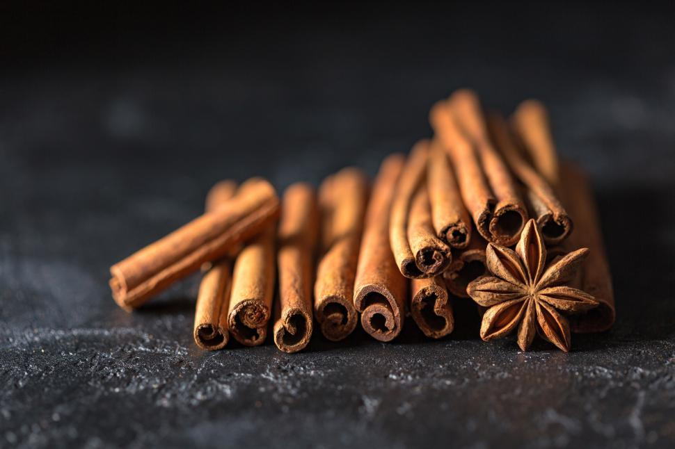 Download Free Stock Photo of Close up cinnamon sticks and star anise fruit