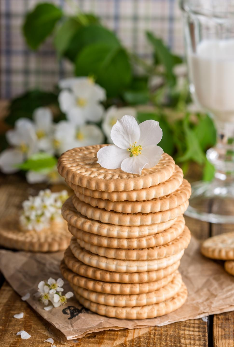 Download Free Stock HD Photo of Close up of stacked cookies Online