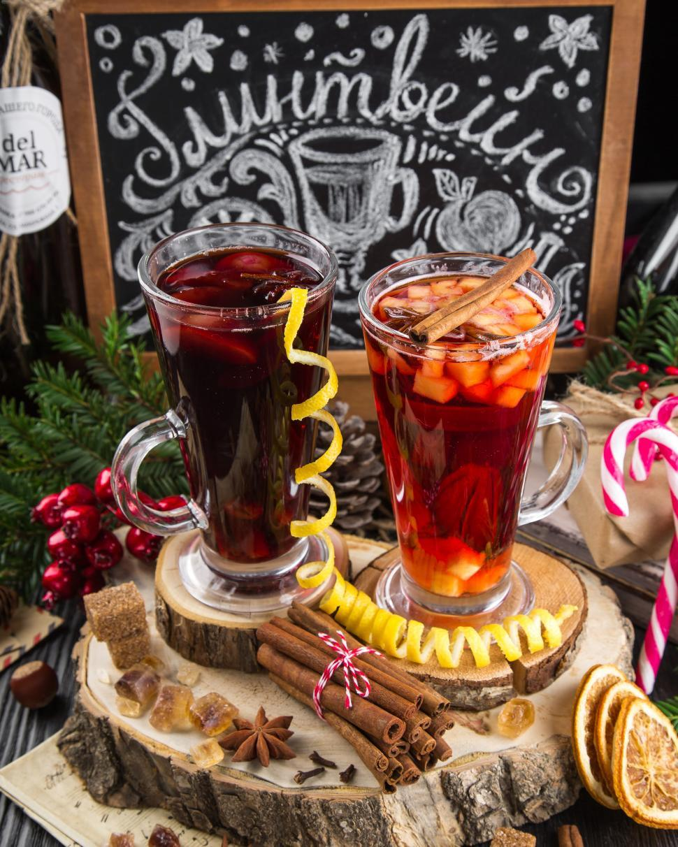 Download Free Stock Photo of Close up of glasses filled with mulled wine