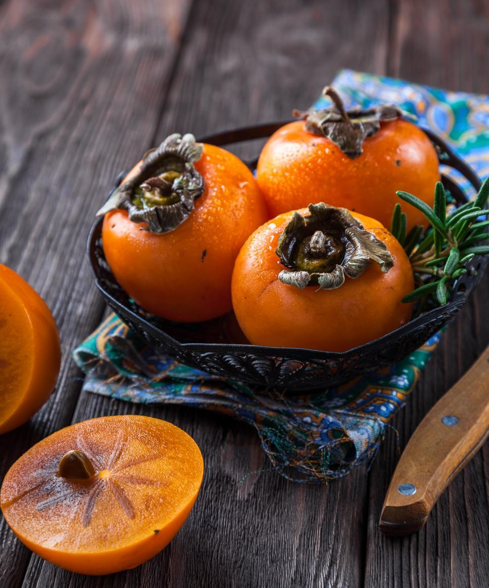 Download Free Stock HD Photo of Close up of persimmons Online