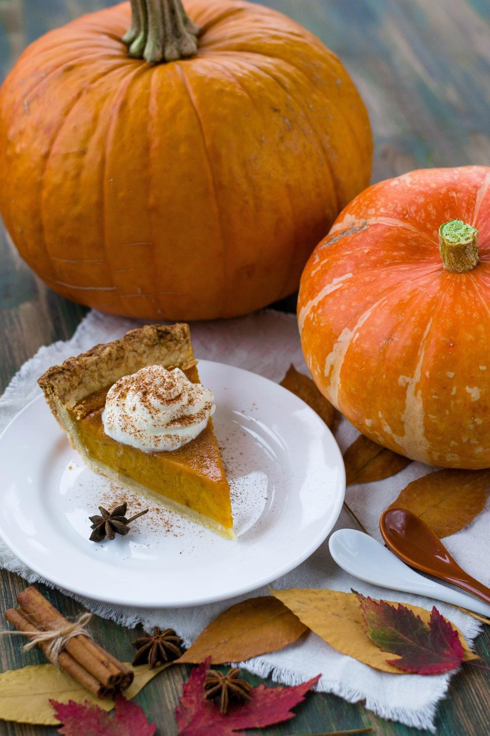 Download Free Stock HD Photo of Close up of a slice of pumpkin pie on white plate Online