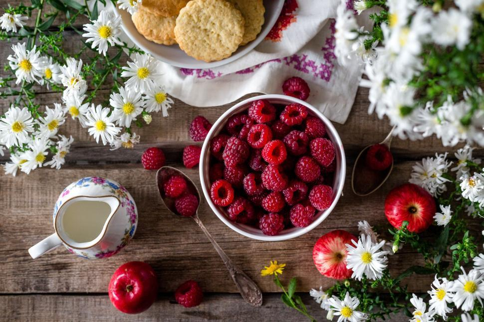 Download Free Stock HD Photo of Overhead view of a bowl of raspberries Online