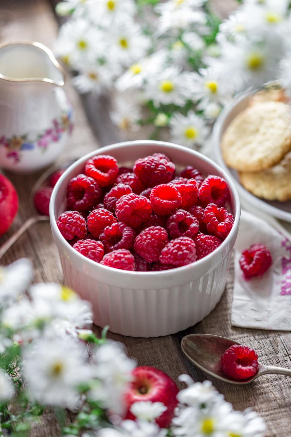 Download Free Stock HD Photo of Close up of a bowl of raspberries on a spring themed table Online
