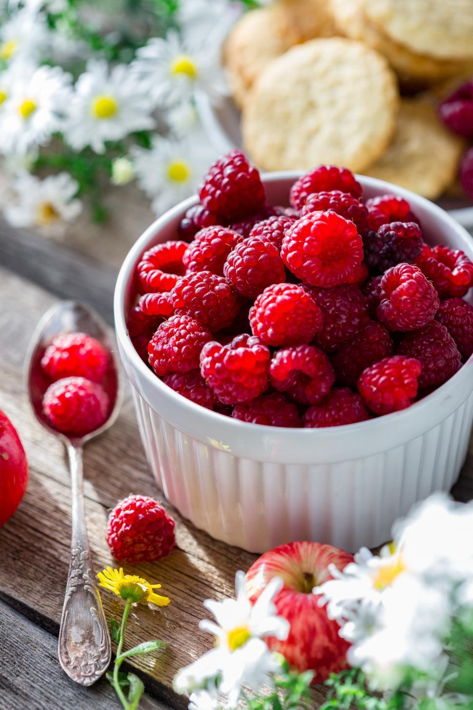 Download Free Stock HD Photo of Close up of a bowl of fresh raspberries Online
