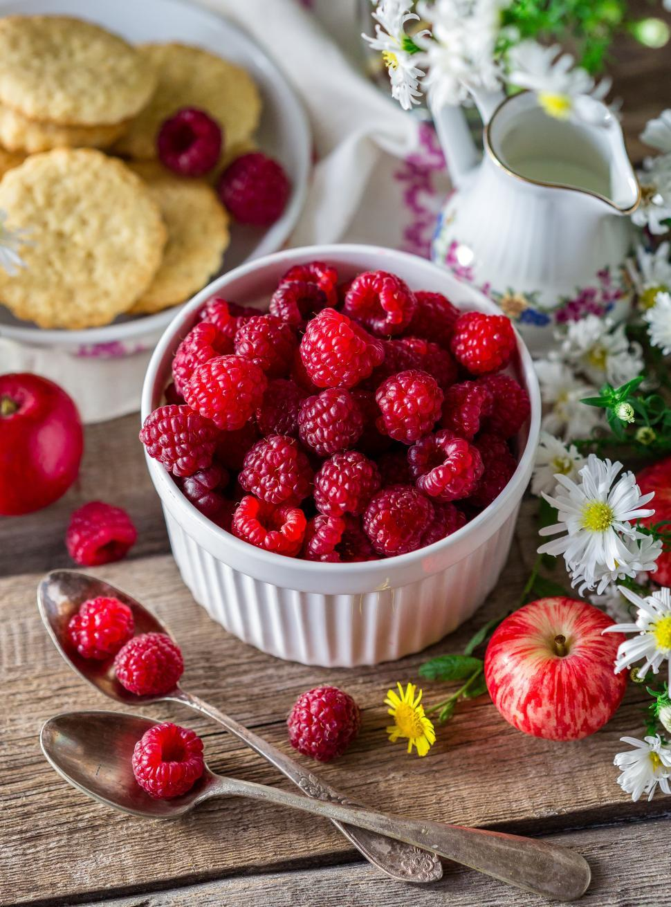 Download Free Stock HD Photo of Close up of a bowl of raspberries on a table Online