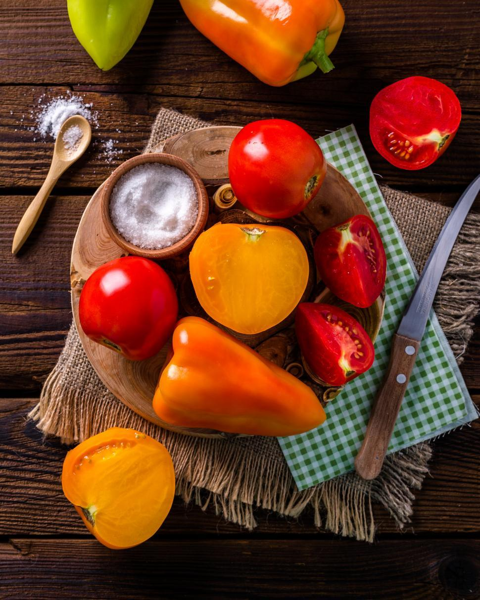 Download Free Stock Photo of Overhead view of bell peppers and tomatoes