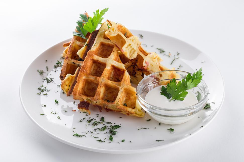 Download Free Stock HD Photo of Close up of waffle with whipped cream Online