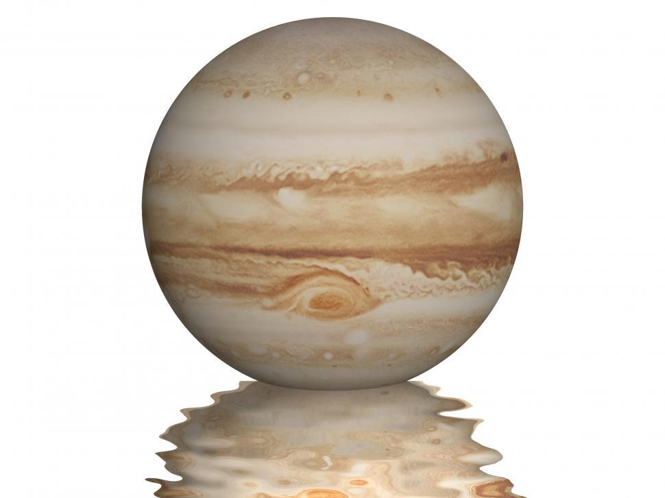 Download Free Stock Photo of Planet Jupiter with small wavy reflection under it