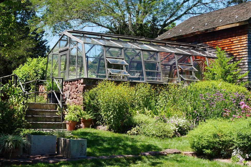 Download Free Stock Photo of Greenhouse with Stone Foundation
