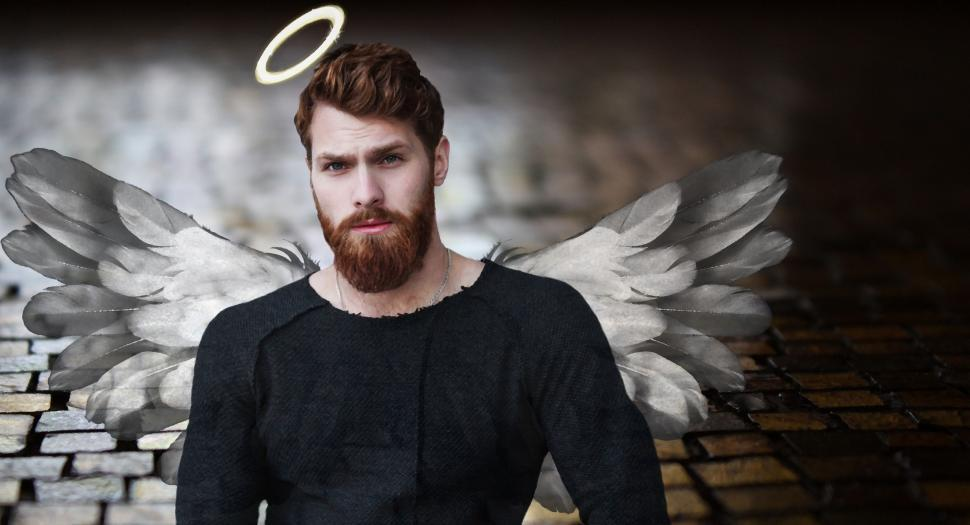Download Free Stock Photo of Angelic Man Photo Illustration