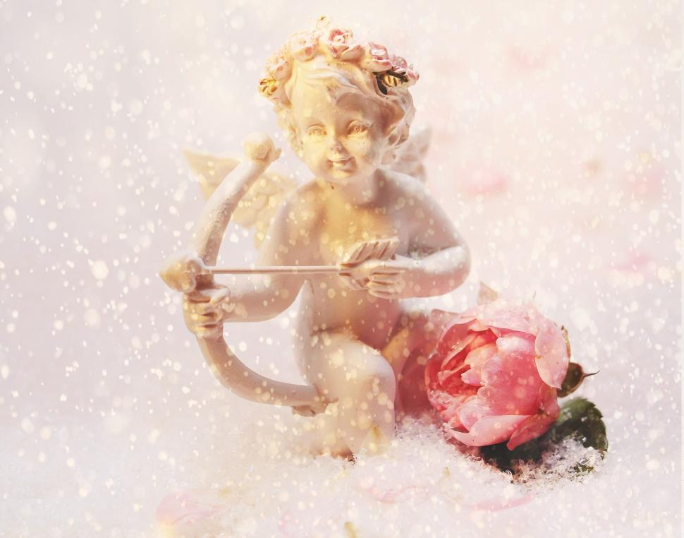Download Free Stock HD Photo of Cupid and Flower Online
