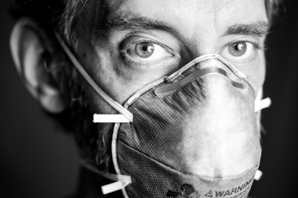 Download Free Stock Photo of Man Wearing Face Mask - Black and White