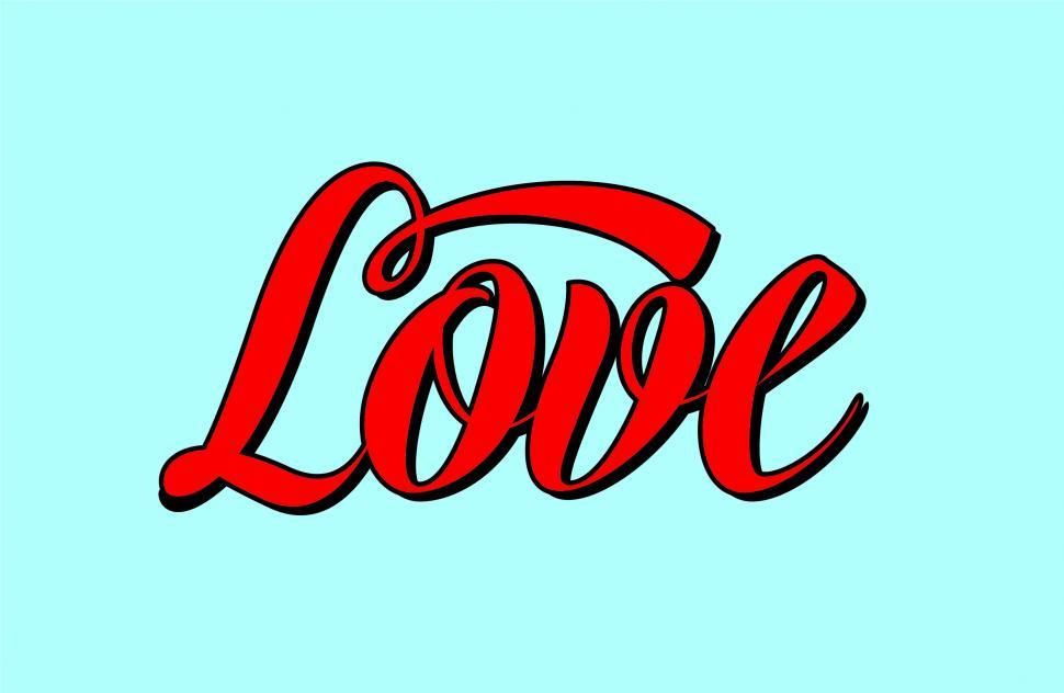 Download Free Stock Photo of Text of the word Love in calligraphy lettering