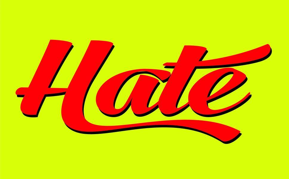 Download Free Stock Photo of Text of the word Hate in calligraphy lettering