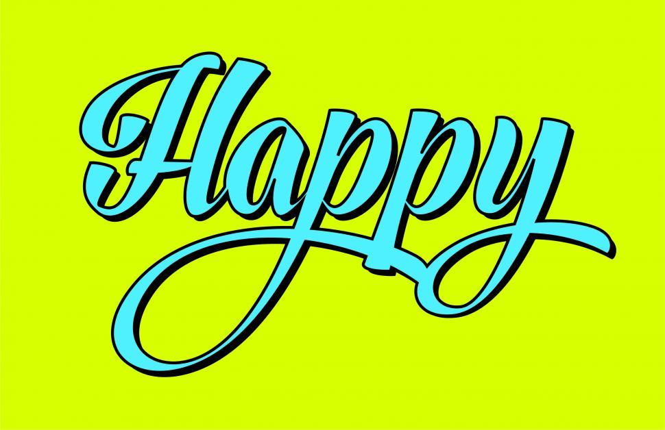 Download Free Stock Photo of Text of the word Happy in calligraphy lettering