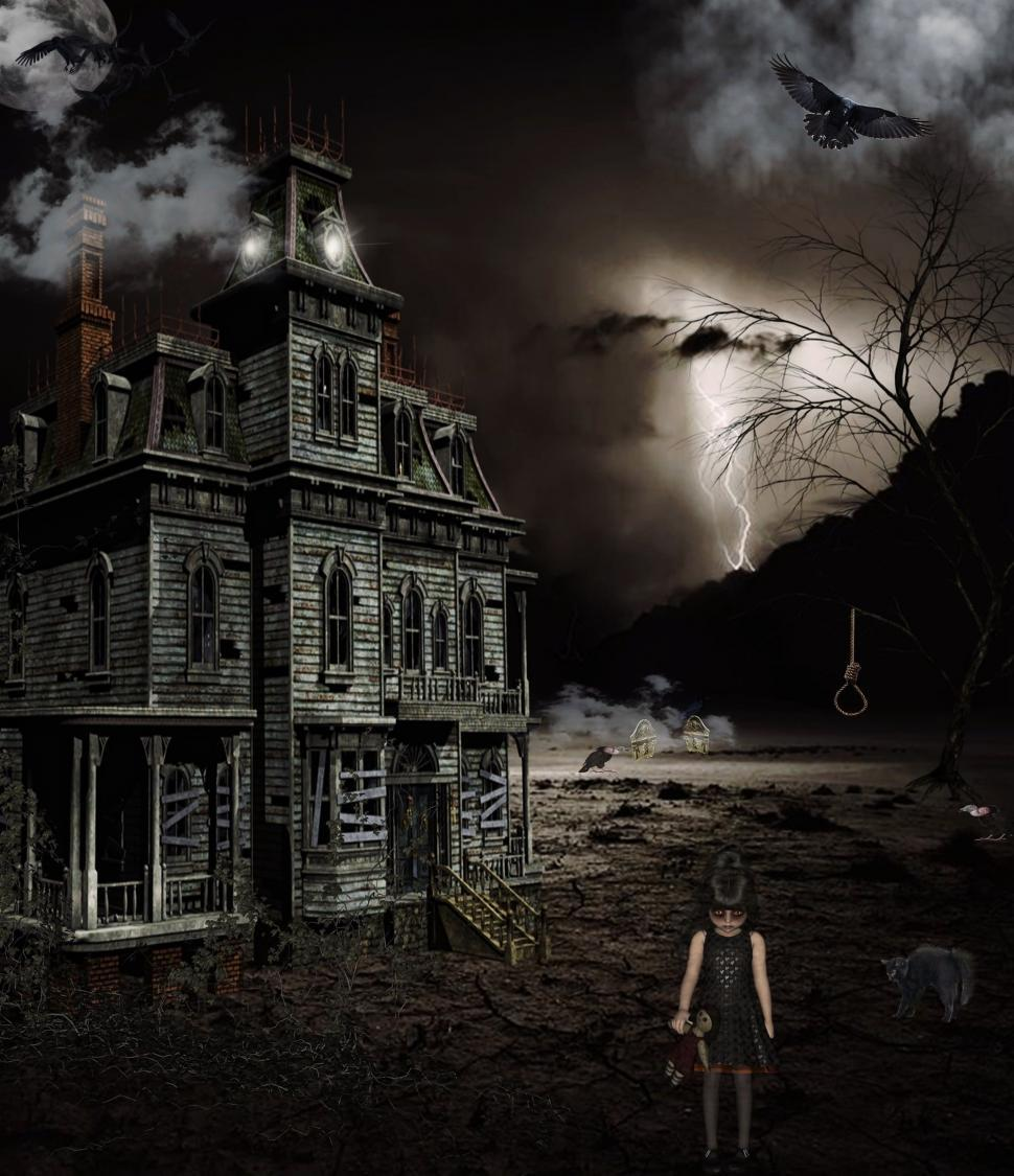 Download Free Stock Photo of Scary photo illustration of haunted house scene