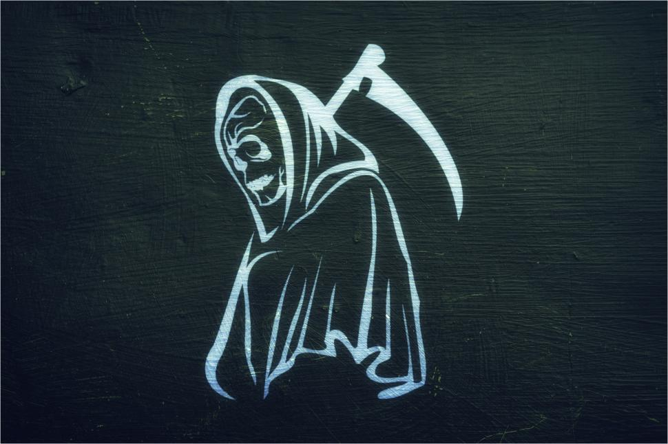 Download Free Stock Photo of Grim Reaper - On Dark Background