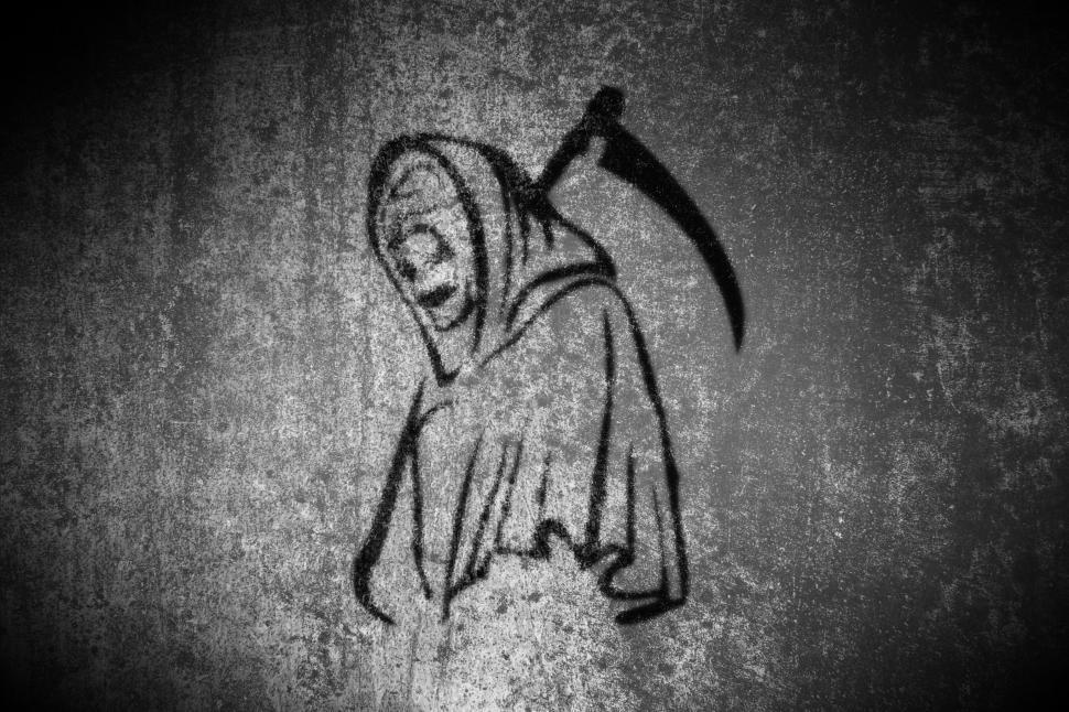 Download Free Stock HD Photo of Grim Reaper - On Grunge Background  Online