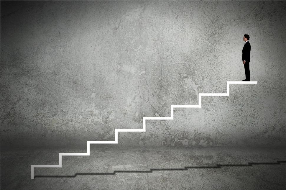 Download Free Stock HD Photo of Businessman on Virtual Staircase - Success - Career Online