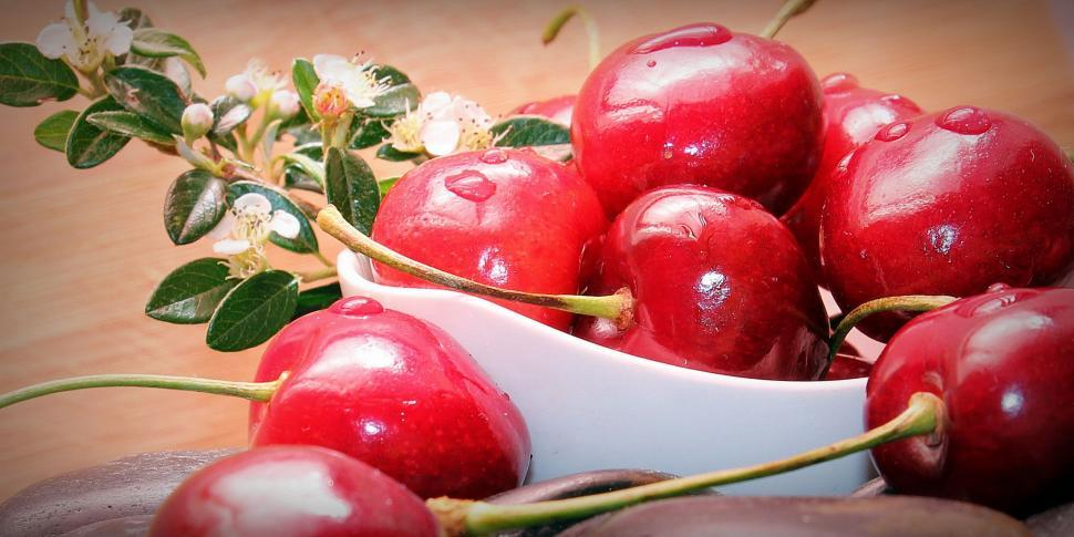 Download Free Stock HD Photo of Bowl of Cherries and Blossoms Online