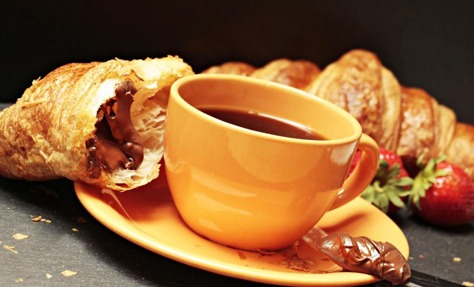 Download Free Stock Photo of Continental Breakfast Croissant and Coffee