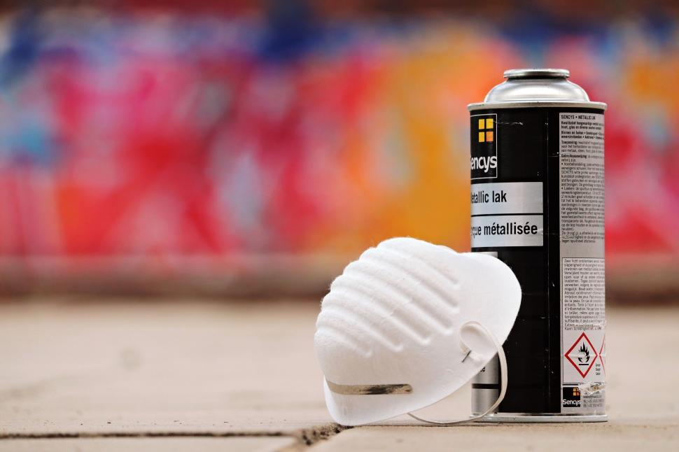 Download Free Stock Photo of Spray paint can and mask